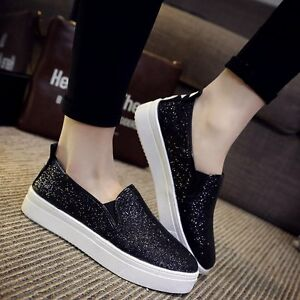 Women s Glitter Sneakers Loafers Sport Canvas Shoes Flats Loafer ... ea18f7171