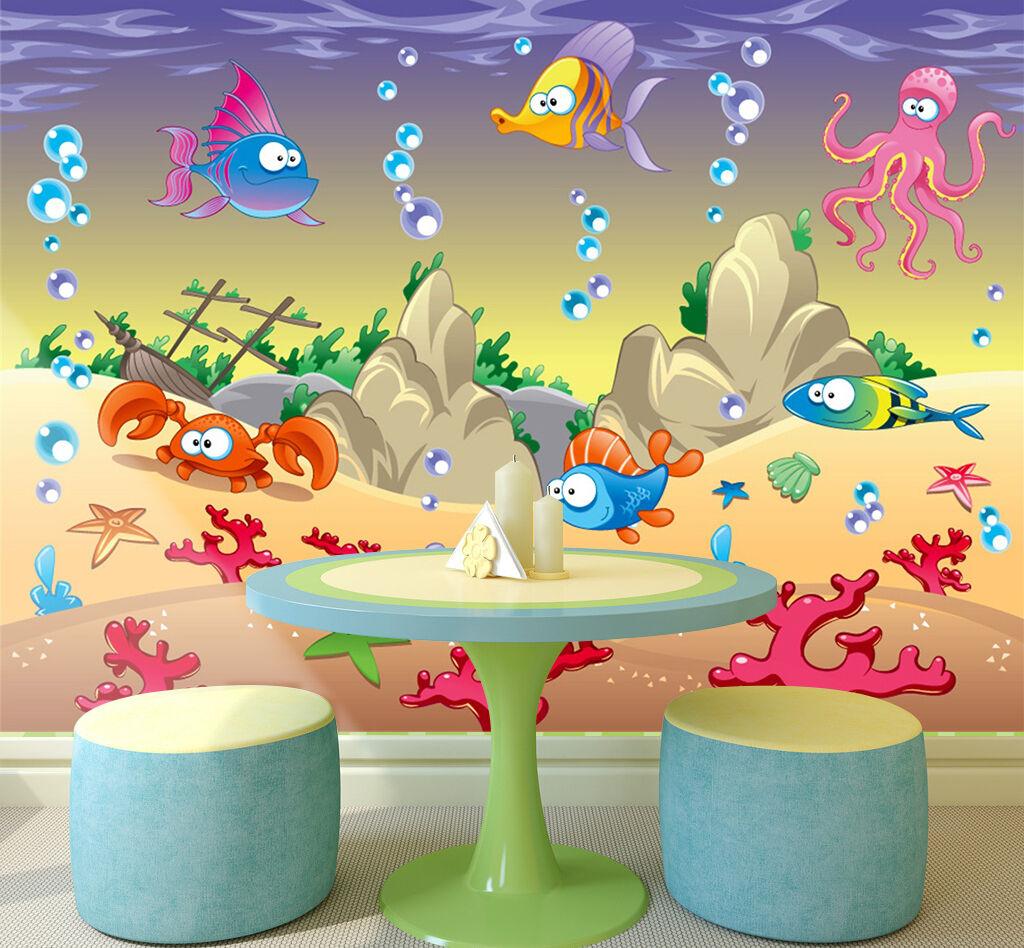 3D Pesci belli 89 Parete Murale Foto Carta da parati immagine sfondo muro stampa