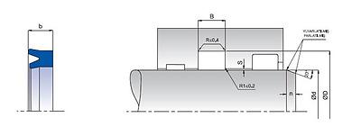 Rod Sealing U-ring K33 PU//NBR//POM ID 90mm-95mm choose dimensions pack
