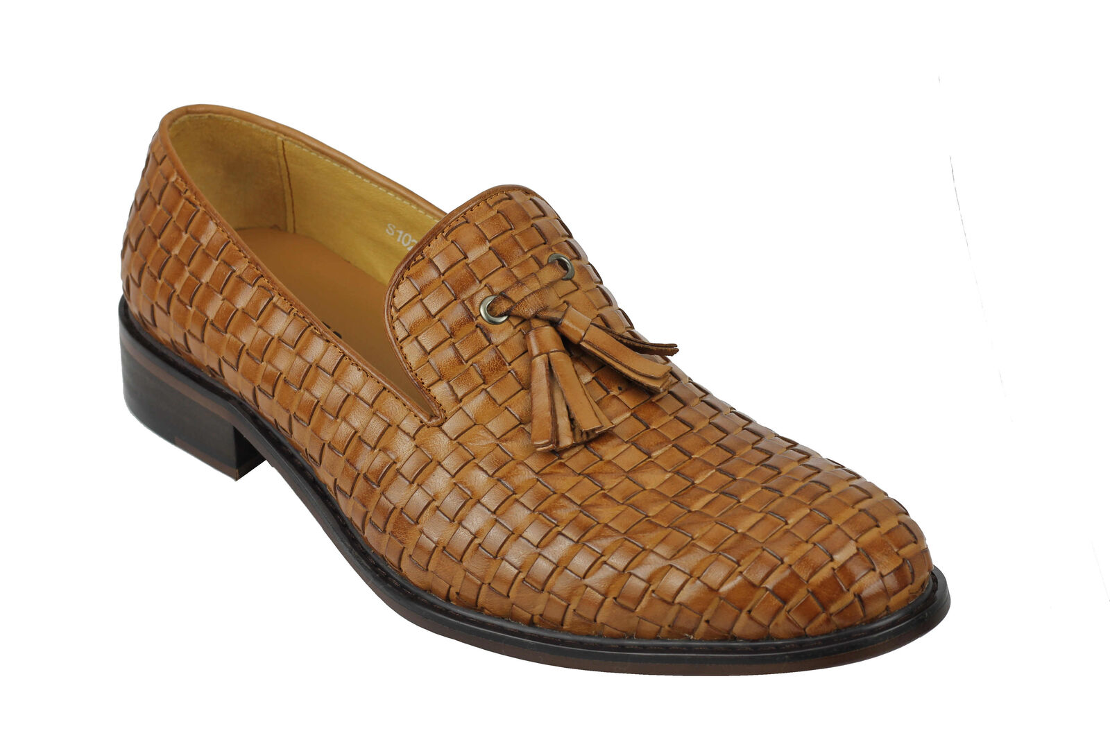 Mens Vintage Handmade Tan Brown Real Leather Woven Tassel Loafers Slip on Shoes