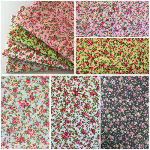 Fat Quarters Metres Vintage Floral Polycotton Fabric Bunting Dressmaking Sewing