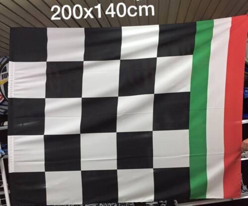 1 bandierone scacchi bianconeri tricolore 140x200cm  Campione d/'italia bandiera