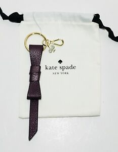 NWT Kate Spade Bow Leather Keychain Bag Charm Deep Plum 98687236553 ... 9a23a994f3e5