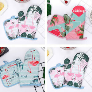 Am-2Pcs-Cooking-Microwave-Oven-Cotton-Gloves-Mitts-Pot-Pad-Set-Heat-Proof-Eyefu