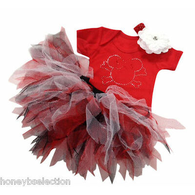 Red Minnie Mouse Pirate Skull Sparkle Baby Grow Neon Tutu 80 Fancy Dress Costume