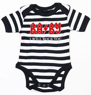 BABY I WILL ROCK YOU Baby-Body schwarz/weiss gestreift