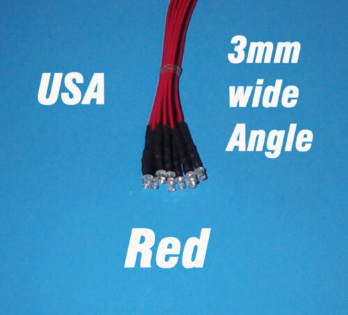3mm PRE WIRED 12 VOLT WIDE VIEW ANGLE RED 10 x LED