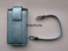 New Motorola Leather Metalic Blue Pouch & Strap For L2,L6 & L7 Mobile Phones