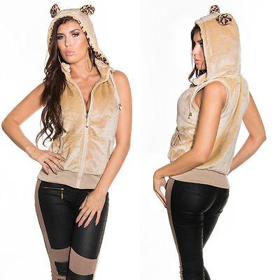 Qualità Al 100% Felpa Beige Donna Smanicata Gilet Leopardo Orecchie Cappuccio Leopardata L/xl Pregevole Fattura