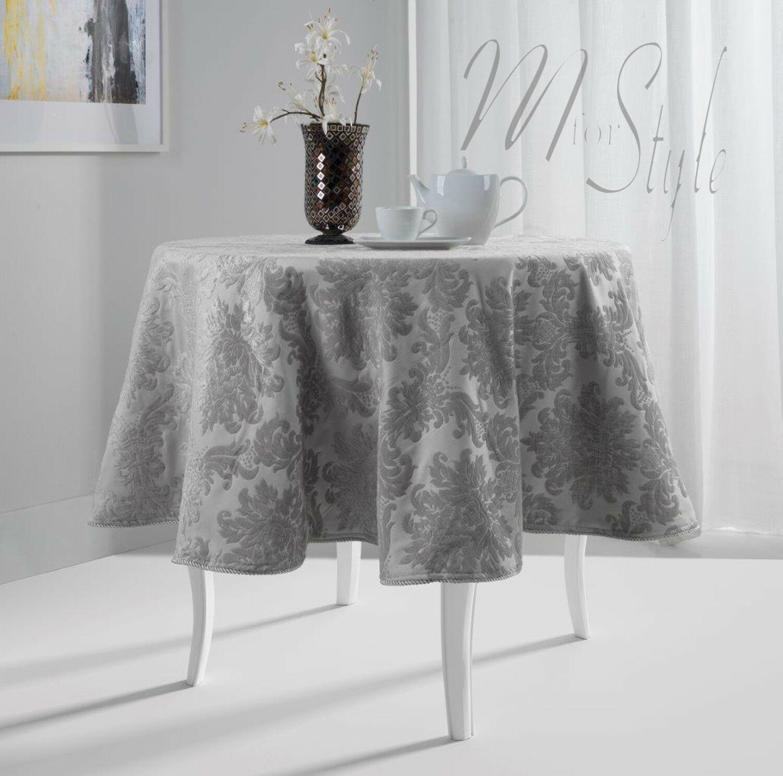 SILVER GREY DAMASK PRINT SHINE THICK PVC POLY COTTON TABLE CLOTH PROTECTOR RETRO