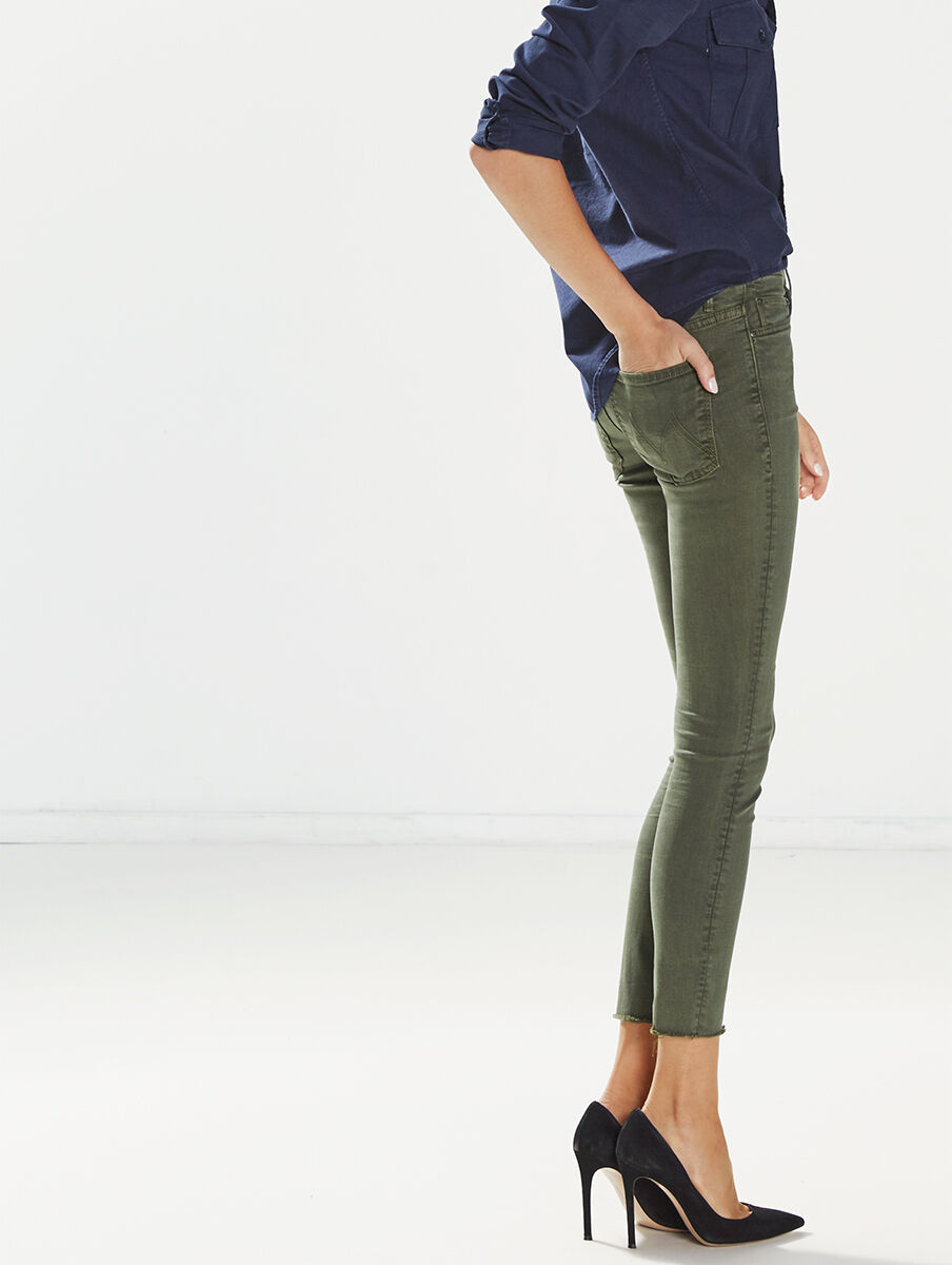 MOTHER DENIM THE LOOKER ANKLE FRAY SKINNY JEANS IN FOREST Grün W25 UK 6 8