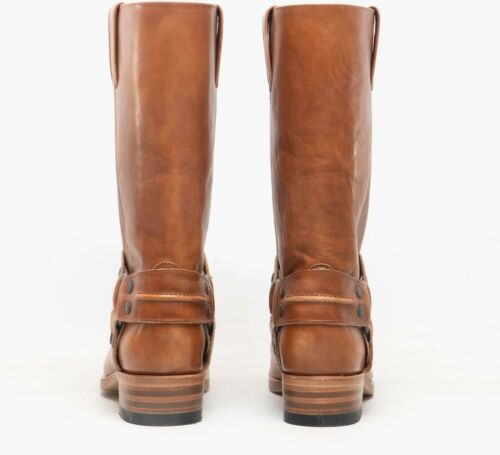 Sendra 7410 Mens Winter Casual Square Toe Leather Pull On Loops Biker Boots Tan