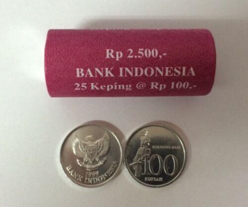 INDONESIA 100 RUPIAH 1999 KAKARTUA Bird COINS UNC Lot 25 PCS 1 ROLLS
