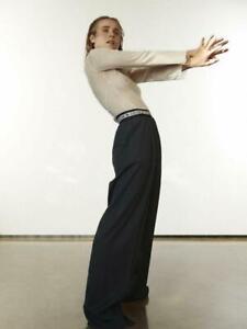CELINE Logo Pants Waistband Trousers Grey Wool Fall'18 Phoebe Philo 42