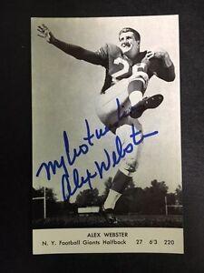 Alex Webster Signed Postcard NY Giants Halfback Vintage Card with COA
