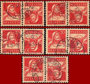 Schweiz-1925-Tellbrustbild-20-C-20-C-rot-5-Stueck-gest-Zst-K25y-Mi-K22x