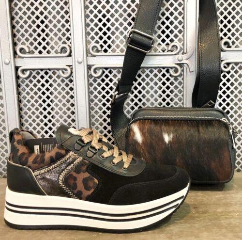 Nero Giardini Sneaker schwarz mit Leoprint Leder Gr 39
