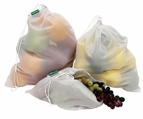 Premium Reusable Mesh Produce Bags TARE WEIGHT TAGS Set of 9-3 Sizes