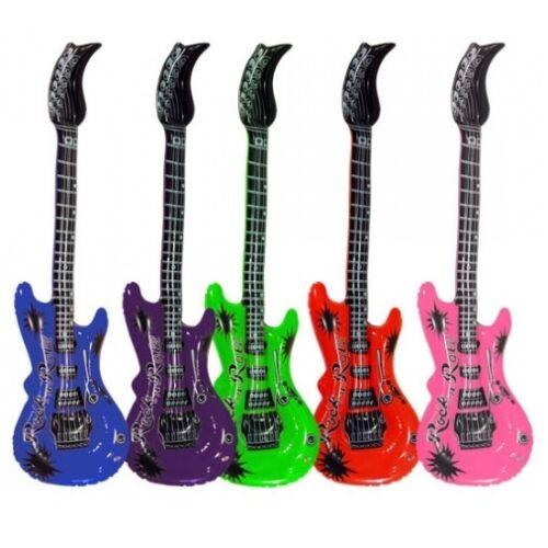 20 Stück Aufblasbare Luftgitarren Bunt 55 cm Luftgitarre Luft Gitarre Air Guitar