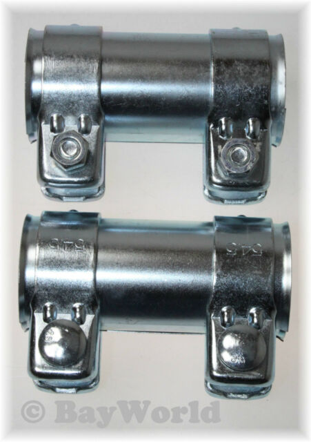 2x Conector Universal de Tubos Escape 52x56, 5x125mm Doble Pinza Opel BMW 52x125