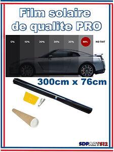 Film-Solaire-De-Qualite-Pro-3m-X-76cm-Teinte-50-Vlt-Noir-Auto-Batiment