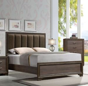 Details about Modern Design Panel Headboard Bed Walnut Fabric Queen Size  Master Bedroom 1pc
