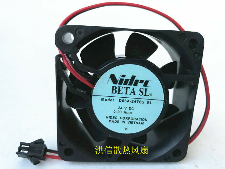 1PC Nidec 6025 D06A-24TS5 01 24V 0.09A 60*25MM 2-wire inverter cooling fan