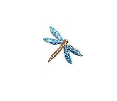 Small Iron on Applique//Embroidered Patch Dragonfly Shimmery//Childrens