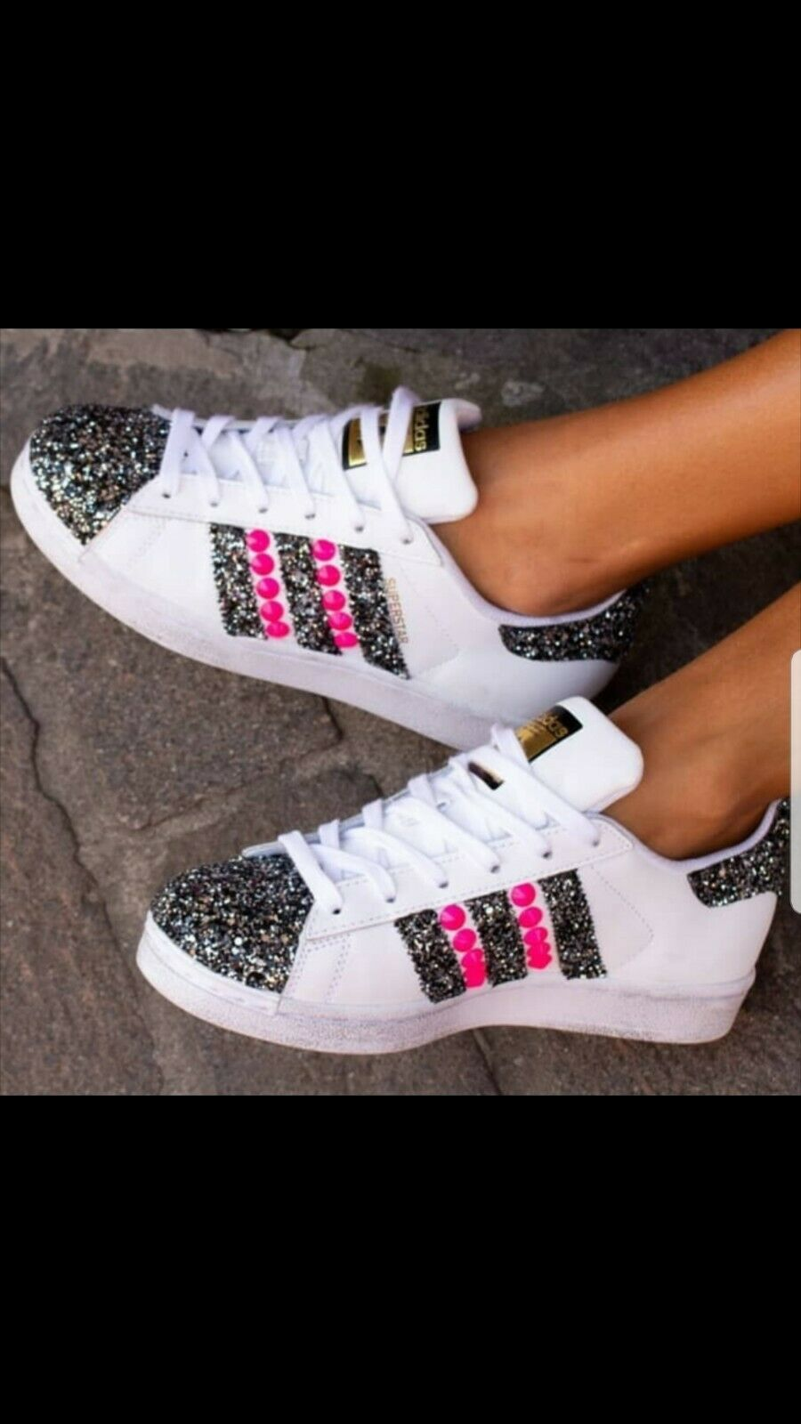 shoes Adidas Superstar with Glitter and Grey Stud