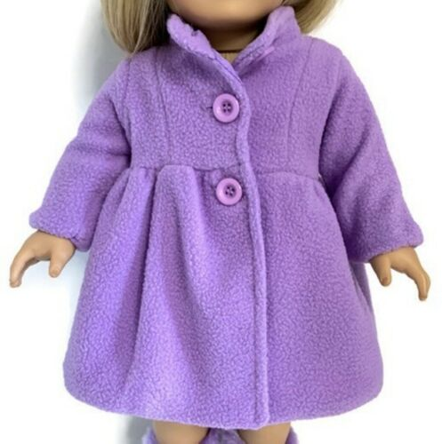 Lavender Fully Lined Fleece Coat for 18 inch American Girl Doll Clothes