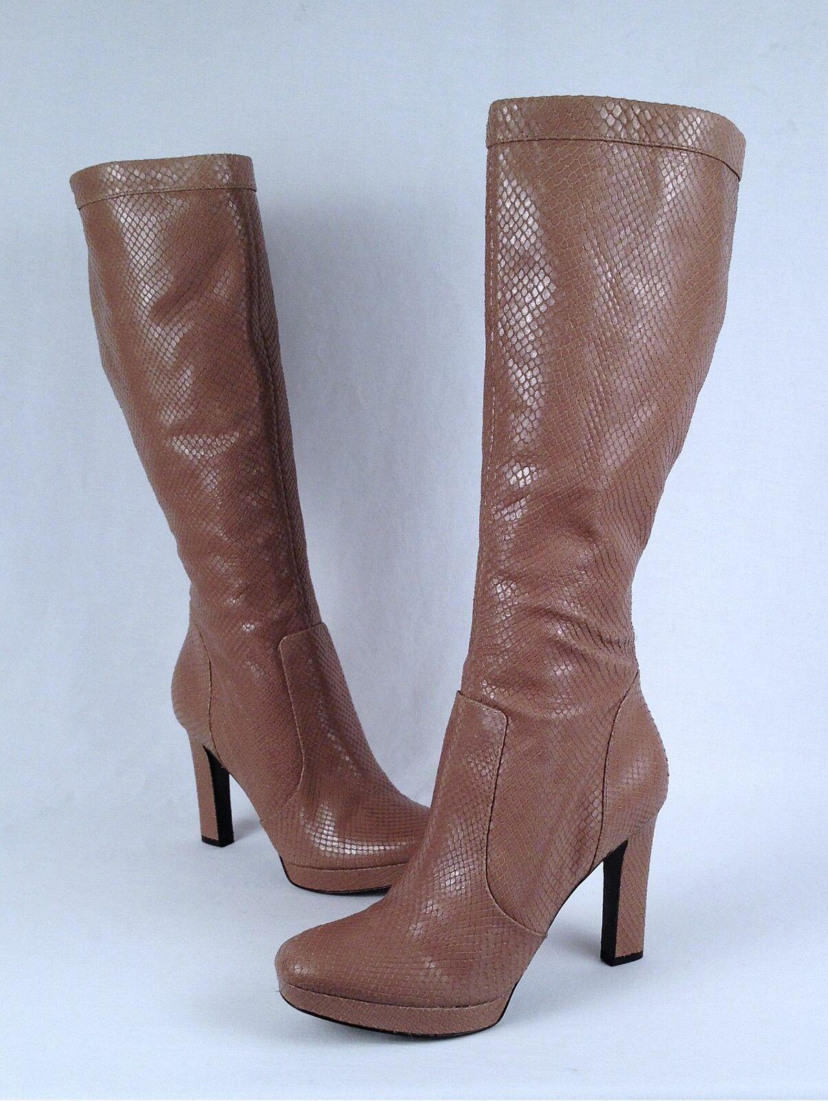 NEW  Via Spiga 'Tori' Tall Boot - Mushroom Snakeskin- Size 8.5 M   (B56)