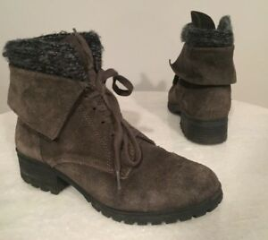 Taupe Heylie Tie Up Suede Ankle Boots