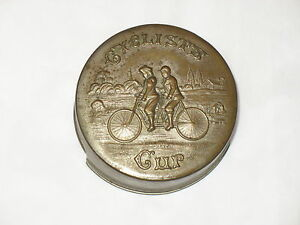 Antique-1897-Cyclists-Cup-Travel-Telescopic-Tandem-Bicycle-Nickle-Ptd-Brass-Tin