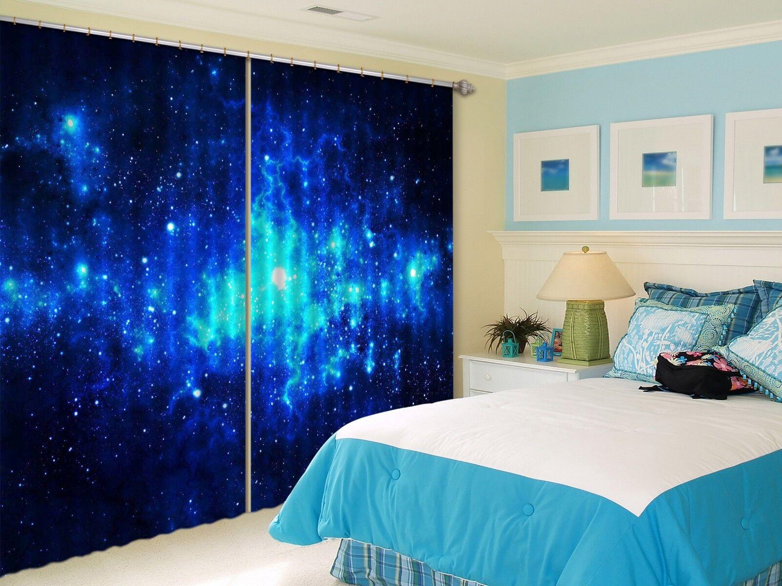Vista de cielo estrellas azules 3D 061 Cortinas de impresión de cortina de foto Blockout Cortinas nos Limón