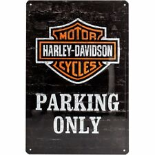FRANCIA VINTAGE PLACA METAL 30x40cm Harley Davidson Parking Only