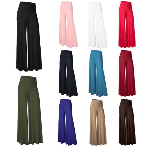 Women/'s High Waist Stretch Casual Pants Palazzo Flared Wide Leg Trousers New