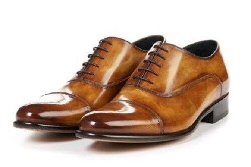 supporto al dettaglio all'ingrosso Handmade Handmade Handmade Leather Cognac Patina Oxfords for Uomo Custom Uomo dress formal scarpe  controlla il più economico