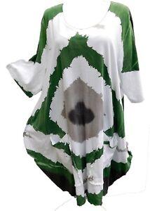 Labass-Kleid-Cotton-Lagenlook-A-Stil-gruen-weiss-grau-Streifen-batik-Gr-48-50