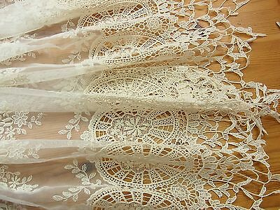 1Yard Vintage Style Embroidery Tulle Lace Trim 70cm Wide Ivory Wedding Gorgeous