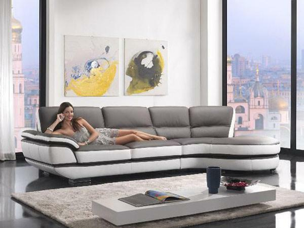 Modern Chic Two Tone Top Eco Leather Sectional Sofa Contemporary Style