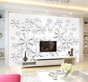 3D White Cartoon Petals 22 Paper Wall Print Wall Decal Wall Deco Indoor Murals