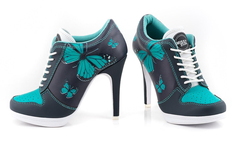 Missy rockz Sport tacón alto Magic Butterfly Gray/Turquoise con 10,5 cm de párrafo