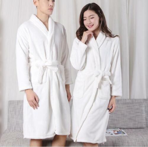 Womens MENS Cotton Night Robe Sleepwear White Bathrobe Spa Shower Robe Loose