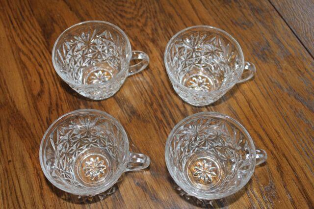 Set of 4 Anchor Hocking Arlington Pattern Punch Bowl cups