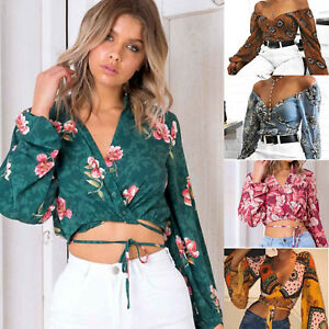 Causal-Womens-V-Neck-Lace-up-Bandage-Crop-Top-Floral-Long-Sleeve-Blouse-Shirt