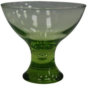 Set-of-6-Large-Glass-Ice-Cream-Bowls-Sundae-Dishes-Green-Glass