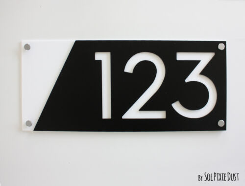 Door Number Black with White Acrylic Modern House Numbers Sign Plaque