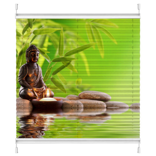 Plissee Motiv Buddha Maßanfertigung ohne Bohren Klemmfix Foto-Druck Wellness