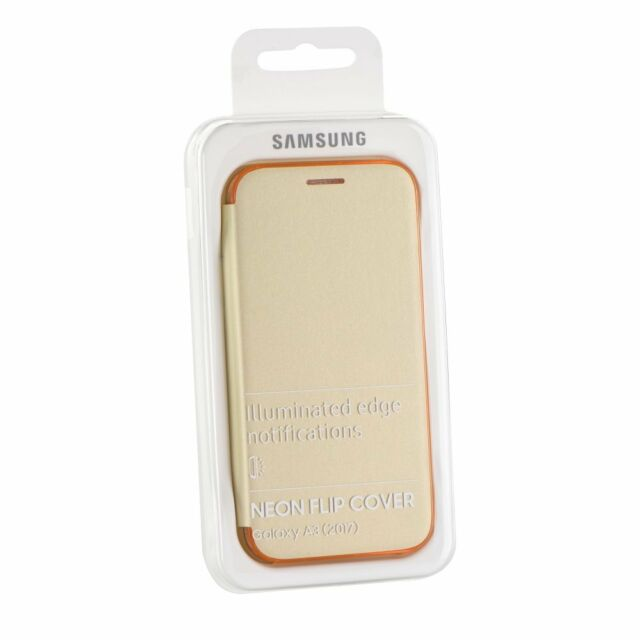 SAMSUNG GALAXY A3 (2017) NEON FLIP COVER PROTECTION OFFICIELLE EF-FA320 GOLD OR