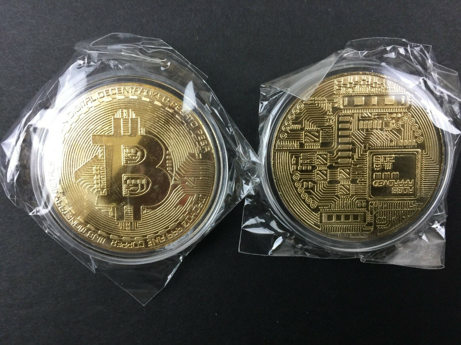 Bitcoin In Protective Acrylic Case Gold Plated Physical